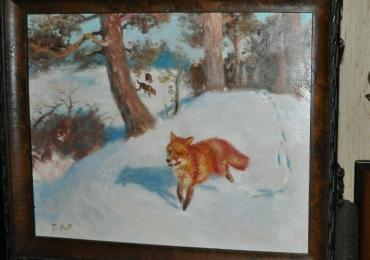 Tablou cu vulpe argintie, tablou cu animale salbatice, tablouri cu animale pictate, tab