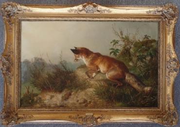 Tablou cu vulpe la vanatoare, tablou cu animale salbatice, tablouri cu animale pictate