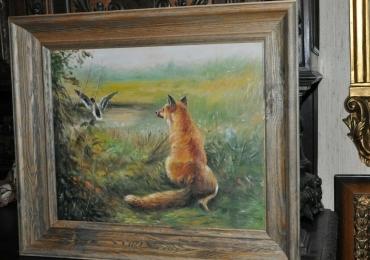 Tablou cu vulpe la vanatoare, tablou cu peisaj de vara, tablou cu animale salbatice, ta