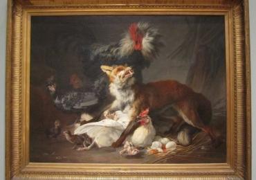Tablou cu vulpe si gaini, tablou cu animale salbatice, tablouri cu animale pictate, tabl