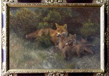 Tablou cu vulpe si pui de vulpe, tablou cu animale salbatice, tablouri cu animale pict