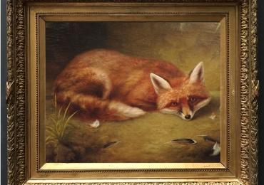 Tablou cuvulpe si cu fulgii ramasi din prada sa, tablou cu animale salbatice, tablouri