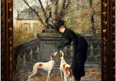 Tablou femeie cu ogarii sai, tablou cu caini, tablou cu animale salbatice, tablouri cu a