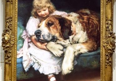 Tablou fetita cu caine, tablou cu animale salbatice, tablouri cu animale pictate, tablou