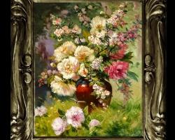 Tablou floral, idei de cadouri, aranjamente  floral, Tablou pictat flori de bujori