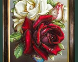 Tablou floral, idei de cadouri, aranjamente  florale, Tablou pictat flori de trandafiri