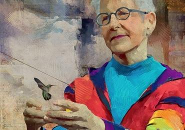 Tablou multicolor cu portret  la comand, portrete pictate in tempera si tus, tehnica media mix