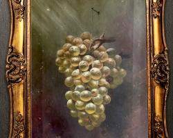 Tablou natura moarta cu ciorchine de strugure , tablou pictat manual in ulei pe panz