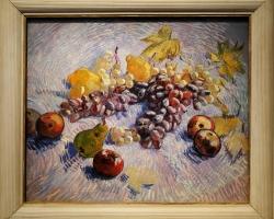 Tablou natura moarta cu fructe, Still Life with Apples, Pears, Lemons and Grapes. Vincent van Gogh