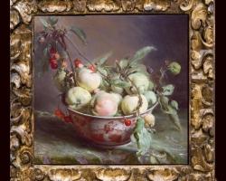 Tablou natura moarta cu fructiera din portelan pictat plina cu fructe