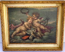 Tablou natura moarta cu ingerasi, tablou natura statica, 19th C Putti Allegory Painting, Boucher