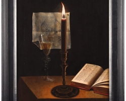 Tablou natura moarta cu lumanare aprinsa, pahar de vin alb si carte, tablou pictat manual in ulei