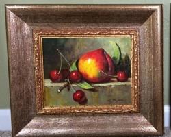 Tablou natura moarta cu piersica si cirese,, tablou pictat manual in ulei pe panz