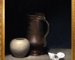 Tablou natura moarta cu vase si cu scoici, tablou pictat manual in ulei pe panz
