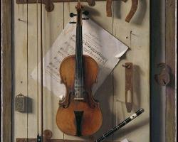Tablou natura moarta cu vioara William Michael Harnett Still life Violin and Music