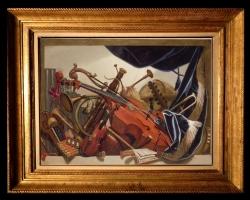 Tablou natura moarta, tablou cu instrumente muzicale