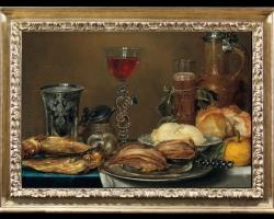 Tablou natura moarta, tablou cu masa imbelsugata cu alimente si vesela pentru bere si vin