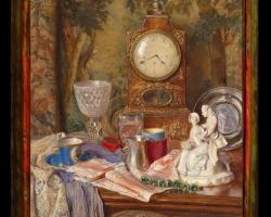 Tablou natura moarta, tablou cu obiecte decorative si ceas