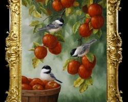 Tablou natura moarta, tablou cu ramuri de mere coapte si cu randunele