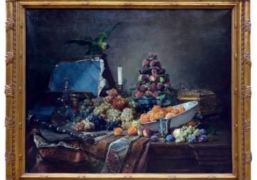 Tablou natura moarta, tablou natura statica, Dennis Pierre Bergeret, Still Life with Parakeet