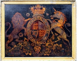 Tablou natura moarta, tablou natura statica, Early Victorian 19th Century Painted Royal Coat of Arms Armorial