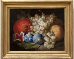 Tablou natura moarta, tablou natura statica, Fructe, rodie, smochine si struguri, Jean-Marie de Silguy