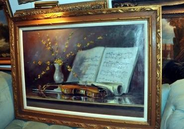 Tablou natura moarta, tablou natura statica cu vioara si partitura, tablou cu vaza de flori
