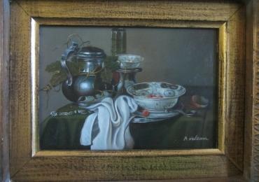 Tablou natura moarta, tablou natura statica, still life of a silver teapot and bowl
