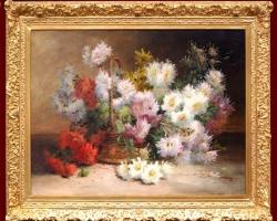 Tablou natura moarta, tablou pictat manual in ulei pe panza, Buchet de flori, tablou cu flori albe roz si rosii in cos impletit, tablou floral