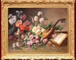 Tablou natura moarta, tablou pictat manual in ulei pe panza, Tablou natura moarta cu mandolina si flori, tablou natura statica