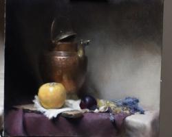 Tablou natura moarta, tablou pictat manual in ulei pe panza, pictura stil lif