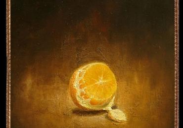 Tablou natura statica cu portocala, Tablou cu fructe, Tablou abstract, tablou minimalist, tablou decorativ pentru sufragerie
