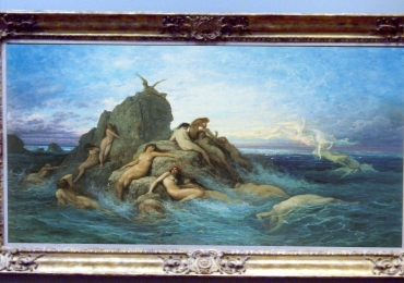 Tablou peisaj celebru marin, Gustave Dore, painting Sea Naiads, Painting with sea waves clouds rocks, Peisaj cu mare si femei