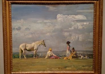 Tablou peisaj de vara cu oameni si cal, tablou cu animale salbatice, tablouri cu anima