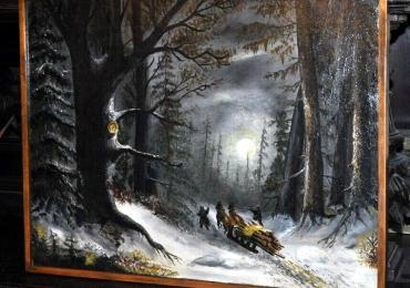 Tablou peisaj deiarna, tablou cu padure, tablou cu caruta trasa de cai, Tablouri Pictori Celebri, Reproduceri Picturi Celebre