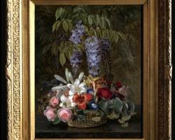 Tablou pictat cos de flori, tablou floral, tablou cu aranjament floral, Tablou floral, aranjamente  florale pentru ocazii deosebite