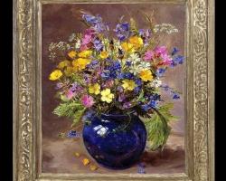 Tablou pictat cu buchet de flori albastre si galbene in glastra de sticla albastra, Tablou floral, idei de cadouri, aranjamente  florale
