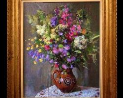 Tablou pictat cu buchet de flori asezat pe masa, tablou floral, Tablou floral, idei de cadouri, aranjamente  florale pentru ocazii deosebite