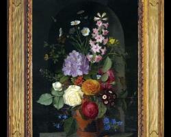 Tablou pictat cu buchet de flori de gradina, tablou cu flori pictate manual, Tablou floral, idei de cadouri, aranjamente  florale pentru