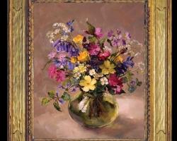 Tablou pictat cu buchet de flori multicolore, tablou floral delicat, Tablou floral, idei de cadouri, aranjamente  florale pentru ocazii deosebite