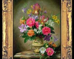 Tablou pictat cu buchet de flori, tablou cu flori de lalele, flori stanjenei roz, pictura cu flori de camelii si flori clopotei, Tablou floral, idei de cadouri