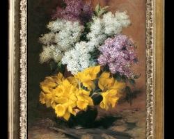 Tablou pictat cu buchet de flori, tablou cu liliac, tablou cu narcise galbene tablou floral, Tablou floral, idei de cadouri, aranjamente  florale