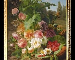 Tablou pictat cu buchet de florisi zmeura de gradina, , Tablou floral, idei de cadouri, aranjamente  florale pentru ocazii deosebite