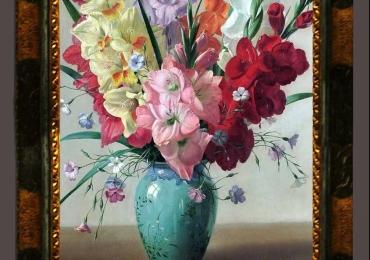 Tablou pictat cu buchet de gladiole, tablou floral, Tablou floral, idei de cadouri, aranjamente  florale pentru ocazii deosebite