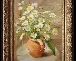 Tablou pictat cu buchet de margarete, tablou cu flori in ulcica de lut, Tablou floral, idei de cadouri, aranjamente  florale pentru ocazii deosebite