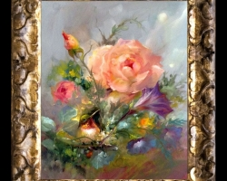 Tablou pictat cu buchet flori de trandafiri si alte flori delicate