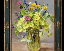 Tablou pictat cu buchetel de flori din gradina, tablou floral, Tablou floral, idei de cadouri, aranjamente  florale pentru ocazii deosebite