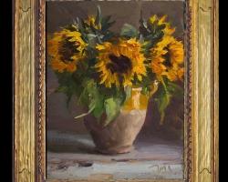 Tablou pictat cu floarea soarelui, tablou cu ulcica de lut, tablou cu buchet de floarea soarelui, Tablou floral, idei de cadouri, aranjamente  florale