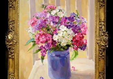 Tablou pictat cu flori albe si mov, tablou floral cu buchet de floricele, Tablou floral, idei de cadouri, aranjamente  florale pentru ocazii deosebite