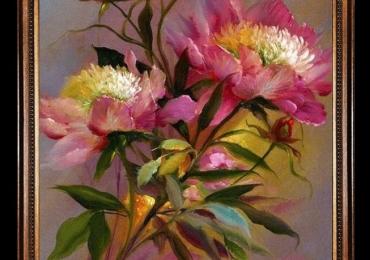 Tablou pictat cu flori de bujor roz, tablou cu bujori imbonbociti, Tablou floral, idei de cadouri, aranjamente  florale pentru ocazii deosebite